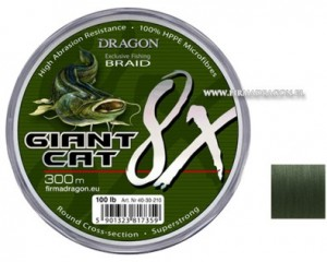 Plecionka Dragon Giant Cat 8X Braid 300m/ 100 lbs kolor ciemnozielona